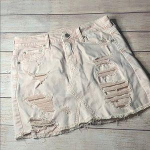 Pink Distressed Jean Mini Skirt
